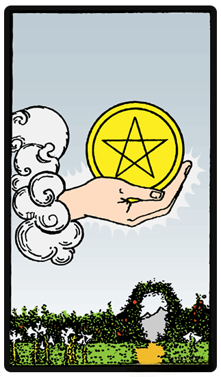 taro card Ace of Pentacles