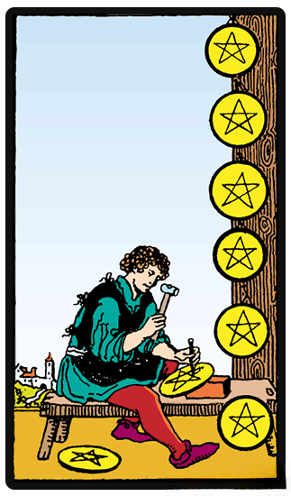 taro korta Eight of Pentacles