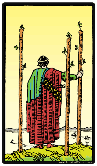 taro card Three of Wands